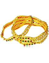 Variation Set Of 4 Multicolour Gold Plated Bangle For Women-VDAM0063