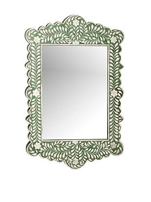 Mili Designs Green Bone Inlay Mirror, Green