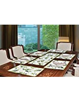 "Avira Home Vineyard Table Mats & Table Runner Set- 6 Mats (13""x19"") & 1 Runner (13""x39""), Machine Washable"