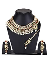 Latest Bollywood Designer Kundan Necklace Set With Maang Tika by Shining Diva