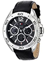 Tommy Hilfiger Mens 1791029 Stainless Steel Watch with Black Leather Band