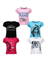 Goodway Junior Girls 5 Pack Attitude -2 Theme Combo Pack of 5 T-Shirts - 2-3 Years