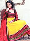 Citrus-Yellow Anarkali Suit with Thread Embroidered Bootis on Neck and Patch Border - Chiffon