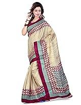 Cenizas Printed Art Silk Sari