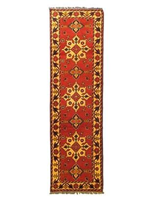 Hand-Knotted Uzbek Kargahi Traditional Wool Rug, Red, 2' 9