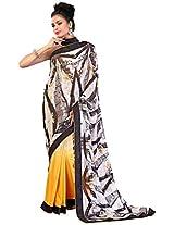 Sthri brown party wear faux georgette sari(A4Mast1008, Brown)