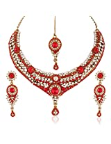 I Jewels Traditional Gold Plated Elegantly Handcrafted Stone Necklace Set with Maang Tikka & Earrings for Women M4047R (Red)
