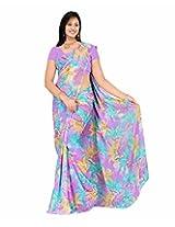 Shivtex Women's Chiffon Saree (SUPER1025D, Violet)