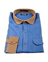 Linen Club Formal Shirt Blue Patern