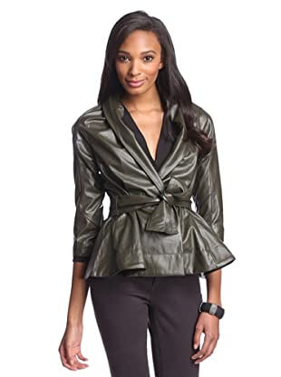 Byron Lars Women's Faux Leather Belted Jacket (Olive)