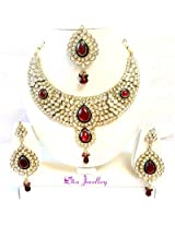 Diva Kundan Red Indian Bollywood Necklace Earrings Tika Set For Women
