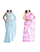MemSahiba Women Semi-Chiffon Saree set of 2 (MS-1086-1091)