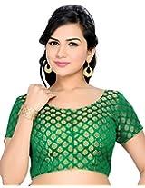 Studio Shringaar Party Green Solid Short Sleeve Non-Padded Blouse