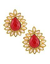 Ethnic India Stud ADIVA Earring Maroon Red tear drop stone with pearl borderABEA0340MA