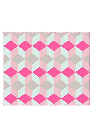 Present Time Block Fleece Throw Blanket, Pink