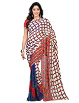 Admyrin Cream Printed Saree with Red Georgette Blouse
