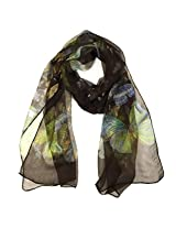 Wrapables Lightweight 100% Silk Butterfly Print Long Scarf, Brown