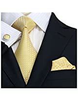"Landisun 30A Plaids & Checks Mens Silk Tie Set: Necktie+Hanky+Cufflinks Light Yellow, 3.75""Wx66""L"