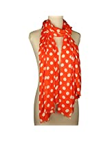 Vozaf Women's Viscose Stoles & Scarves - Orange And White With Polka Dots