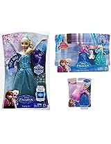 Disney Frozen Singing Elsa Doll & Disney Frozen Glitter Glider Anna, Elsa And Olaf Doll Set & Disney Frozen Magiclip Anna Doll 3 Pack Set