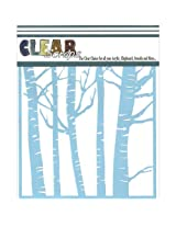 Clear Scraps CSSM6-FRST Translucent Plastic Film Stencil, Forest Trees, 6-Inch x 6-Inch