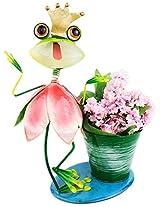 Green Girgit Metal Crown Happy Frog Planter, 27.5 cm x 14.5 cm x 36.0 cm, 1 Piece