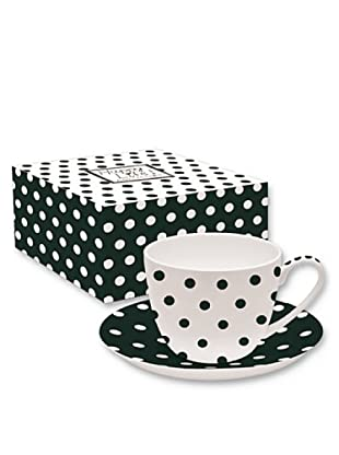 Easy Life Design Tazza Colazione con Piatto in Porcellana Bone China Happy Pois (Nero)