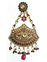 DollsofIndia Polki Jhoomar - Worn on the Left Side of the Head or as Mang Tika - Stone, Bead And Metal - Red