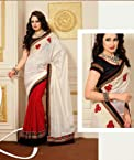 Aesthetic Off White & Red Embroidered Half And Half Saree