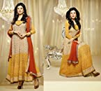 Georgette Yellow Embroidered Semi Stitched Long Length Anarkali Suit