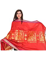 Exotic India Rococco-Red Om Sai Baba Brocaded Shawl from Tamil Nadu - Red