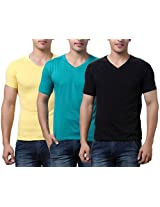 TeeMoods Pack of Three Men's V Neck Tshirts-Black, Yellow & Sea Green_TM-C-1549RGRN-YEL-BLK-XL