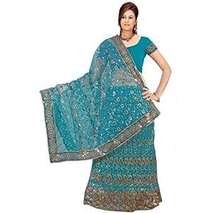 Blue Net Lehenga Style Saree with Blouse