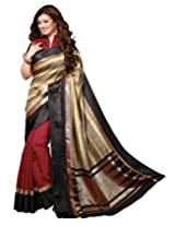 Divyaemporio Cotton Silk Self Print Saree with Blouse Piece (V-13311 _Multi-Coloured)