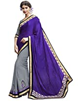 Indian Women Crepe Jacquard And Georgette Violet And Grey Half & Half Saree