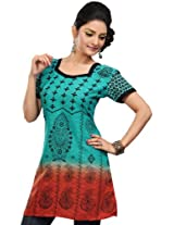 Indian Poly Cotton Tunics Kurti Top Womens Printed Clothes (Turquoise, XXL)