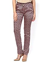 Red Floral Print Slim Fit Trouser _TRW18-RDFLR-6R