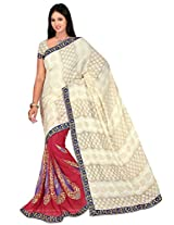 Chinco Embroidered Saree With Blouse Piece (510-D_Maroon & Beige)