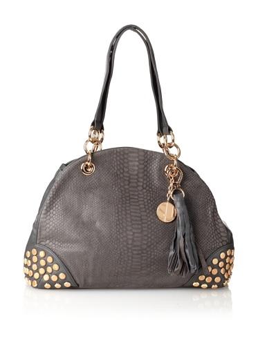 Stella & Jamie Women's Viv Studded Embossed Shoulder Bag (Dove)