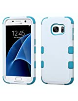 MyBat Cell Phone Case for Samsung Galaxy S7 - Retail Packaging - Ivory/Teal/White