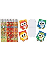 Hoot Owl Birthday Party Favor Pack (12 Pencils & 12 Owl Shaped Notepads) School Supplies/Stationery