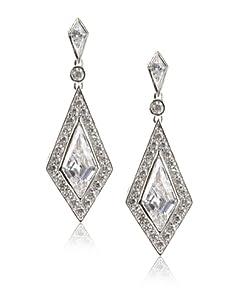 CZ by Kenneth Jay Lane Deco Earrings, Silver