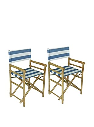 ZEW, Inc. Pair of Outdoor Bamboo Director Chairs with Interchangeable Covers, Navy & White Stripes/White