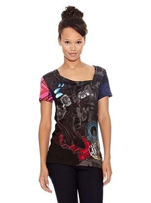 Desigual Camiseta Fecula Curt (Negro Estampado)