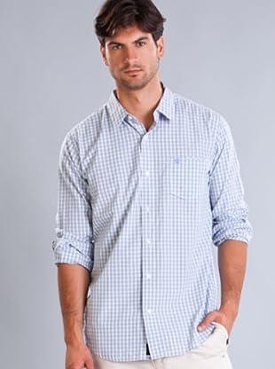 Timberland Camisa Cuadros Finos (Blanco / Celeste)