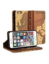 iPhone 6 Case, GMYLE [Book Case] iPhone 6 (4.7 inch) case Wallet Book Case Vintage for iPhone 6 (4.7 inch) - World Map Pattern Classic [Crazy Horse Pattern] [PU Leather] Book style Wallet Case Cover