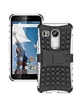 Chevron Tough Hybrid Armor Back Cover Case with Kickstand for LG Nexus 5X (White)