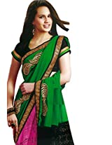 Faux Georgette Saree in Purple Colour for Party Wear