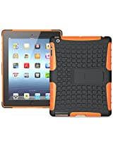 Heartly Flip Kick Stand Hard Dual Armor Hybrid Bumper Back Case Cover For Apple iPad Mini 2 and iPad Mini 3 Tablet With Retina Display - Orange