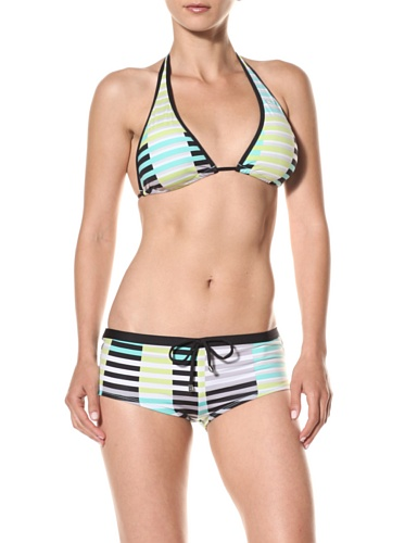 Puma Women's Techno Stripe Boyshort Bikini Bottom (Mint)